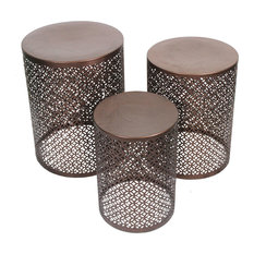 Set of 3 Nesting Indoor / Outdoor Copper Finished Accent Stools
