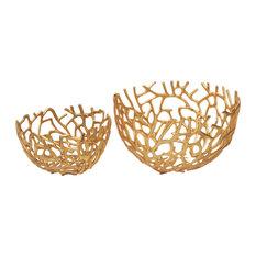 Nest Bowls Set of 2, Gold