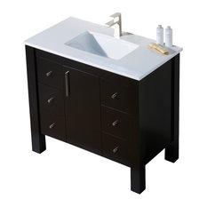 Parsons 37 Quartz Top Vanity, Chestnut, White Sink, White Quartz Countertop