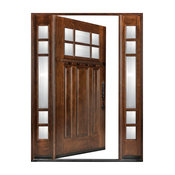 "Huntington 1D+2SL Left-Hand Swing-In Exterior Front Entry Wood Door, 18""-36""x80"""