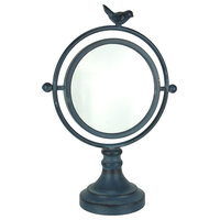 Vintage Blue Metal Round Swiveling Table Mirror With Bird Accent