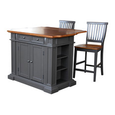 Home Styles Furniture   Americana Kitchen Island With 2 Stools, Gray   Kitchen  Islands And