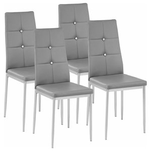 Set of 4 Chairs, Steel Legs and Faux Leather Seat, Diamond-Effect High Back