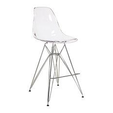 joseph allen counter stool with chrome eiffel legs clear bar stools and counter - Clear Bar Stools