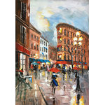 "Bayland Collection - ""Rainy Paris Streets X""  Oil Painting Print on Wrapped Canvas; Modern Fine Art - Up the ante of your gallery wall with this hand-wrapped canvas print, crafted in the United States.Add this piece above your favorite sofa for a museum-worthy focal point."