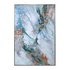 "Elegant Marbleized Metallic Gold White Teal Painting Oversize 74"" Silver Frame"