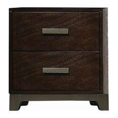 2 Drawer Nightstand With Metal Trim Base And Chamfered Feet Brown