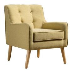 GDF Studio Fontinella Mid Century Tufted Back Fabric Arm Chair, Wasabi, Single