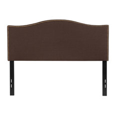 Lexington Upholstered Full Size Headboard With Nail Trim Dark Brown Fabric