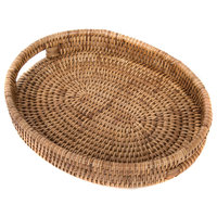 Artifacts Rattan Oval Tray, Honey Brown, Small