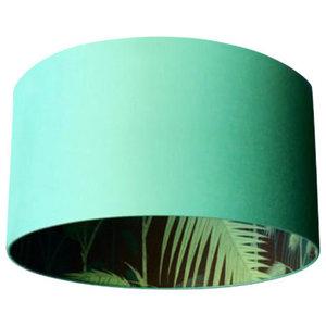 Silhouette Cotton Lampshade, Palm Jungle in Jade, 35x20 cm