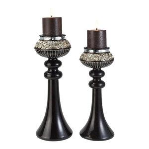 "14/16""H Contemporary Amber Twilight Dark Espresso Candleholder Set, Set of 2"