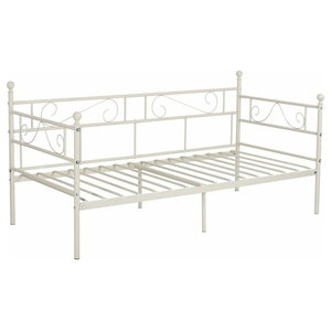 Contemporary Single Day Bed, Solid Metal Frame, 3-Railed Side, Cream