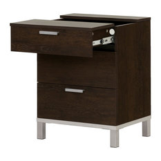 South Shore Furniture   South Shore Flexible Nightstand With Charging  Station And Drawers, Brown Oak