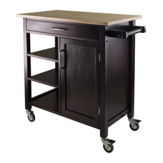 Fast Furnishings   Natural Wood Top Mobile Kitchen Cart, Espresso Finish    Kitchen Islands And