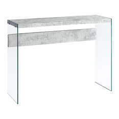 Monarch   Monarch Console Table, Gray Cement With Tempered Glass   Console  Tables