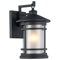 """ADESSO, Transitional 1 Light Textured Black Outdoor Wall Sconce, 14"""" Height"""
