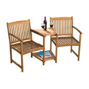 GDF Studio Virginia Outdoor Wood Adjoining Chairs