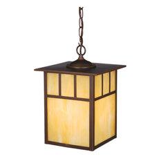 Mission 1 Light Bronze Outdoor Lantern Pendant Honey Glass