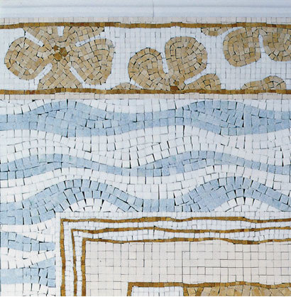 Hibiscus, Wave, and Liner Mosaics - Mosaic Tile