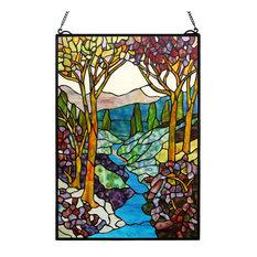 "Landscape 26""H Tiffany Window Panel"