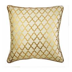 "Gold Decorative Pillow Cover, Ivory Foil Print 22""x22"" Velvet, Moroccan Lattice"