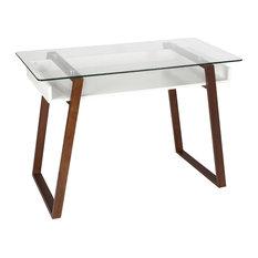 Edgemod Segovia Glass Top Desk, Walnut