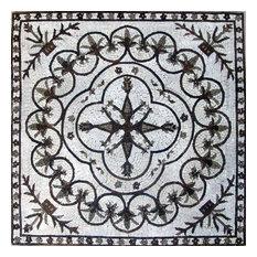 """Mozaico - Marble Floral Mosaic, Munir, 31""""x31"""" - Tile Murals"""