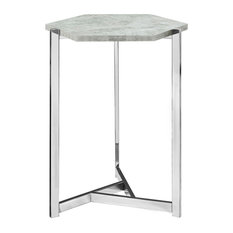 Monarch Specialties   Hexagon Accent Table With Chrome Metal, Faux Cement   Side  Tables And