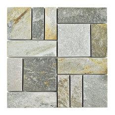 SomerTile - 12 quot;x12 quot; Ridge Patchwork Natural Stone Floor and Wall Tiles, Arizona Quartzite