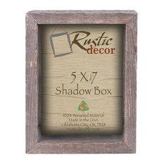 """Santa Fe Reclaimed Rustic Barn Wood Collectible Shadow Box, 5""""x7"""""""