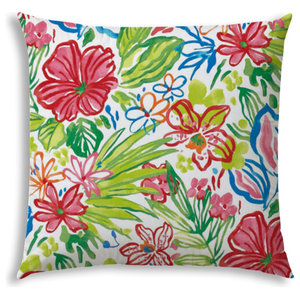 Yellow Blue The Pillow Collection Gamila Floral Outdoor Pillow