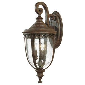 3-Light Hanging Wall Lantern, Large, British Bronze