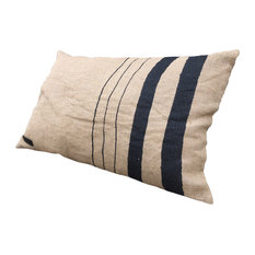 Jute Fabric Cushion, Vertical Stripes Design