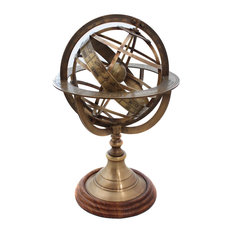 Urban Designs, Casa Cortes - Urban Designs Engraved Brass Tabletop Armillary Nautical Sphere Globe - Decorative Objects and Figurines