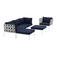6-Piece Patio Sectional Sofa Set, White and Navy