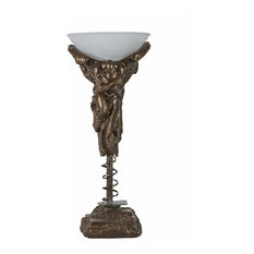 The Messenger Table Lamp, Casted Bronze, Alabaster Centrifuged Glass