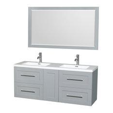 "Olivia 60"" DBL Vanity, 58"" Mirror Acrylic-Resin Top, Integrated Sink, Dove Gray"