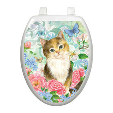 Soft Kitty Toilet Tattoos / Toilet Lid Decal, Elongated