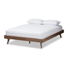 Midcentury Modern Walnut Brown Finished Solid Wood Bed Frame, Queen