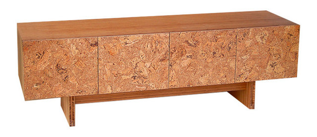 Charming Modern Console Cabinet, Cork And Bamboo, By Iannone