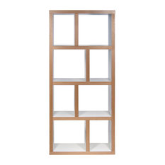Berlin 4 Levels Bookcase, 70 cm., Pure White/Plywood