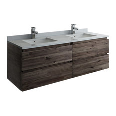 "Fresca Formosa 60"" Wall Hung Double Sink Modern Bathroom Cabinet w/ Top & Sinks"