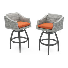 Cannes Swivel Outdoor Bar Stools, Set of 2 by RST Brands, Orange