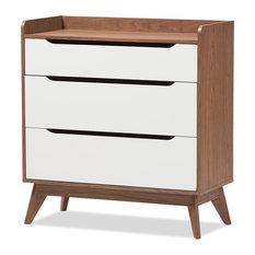 Mid-Century Modern White and Walnut Wood 3-Drawer Storage Chest