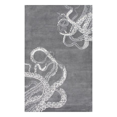 """Hand-Tufted Contemporary Octopus Tail Rug, Midnight, 7'6""""x9'6"""""""