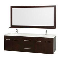 "Wyndham Collection 72"" Centra Espresso Double Vanity With Square Porcelain Sink"