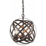 CLAXY - Industrial Russet Axis 3-Light Metal Globe Candelabra Pendant - Interlocking 7 rings pivot for any position, medium size