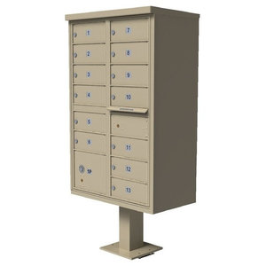 QualArc 1570 13 Door Cluster Box Unit (CBU) for Tall Stucco Mailboxes, Sandstone