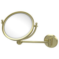 "8"" Wall Mounted Make-Up Mirror 5X Magnification, Satin Brass"